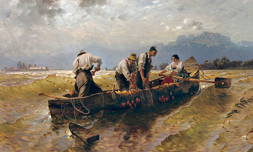 "Painting ""Fishing on the Chiemsee"""