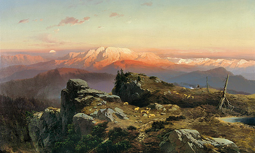 "Painting ""Evening on the mountain Hohe Kampe"""