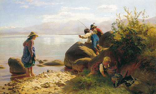 "Painting ""Children fishing on the Chiemsee"""
