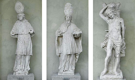 Picture: Stone figures: St Augustine, St Sixtus and St Sebastian
