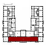 Small plan of the palace (first floor) showing the present position