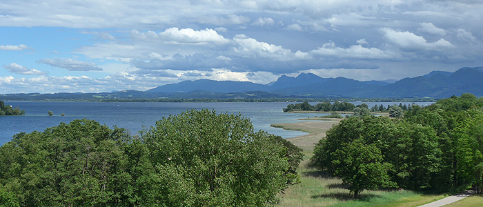 Picture: View from Herrenchiemsee Island to the Chiemsee and the mountains